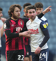 Bournemouth's Ben Pearson in action with  Preston North End's Sean Maguire<br /> <br /> Photographer Mick Walker/CameraSport<br /> <br /> The EFL Sky Bet Championship - Preston North End v Bournemouth - Saturday 6th March 2021 - Deepdale - Preston<br /> <br /> World Copyright © 2020 CameraSport. All rights reserved. 43 Linden Ave. Countesthorpe. Leicester. England. LE8 5PG - Tel: +44 (0) 116 277 4147 - admin@camerasport.com - www.camerasport.com