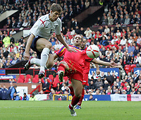 Photo: Paul Thomas.<br /> England v Andorra. European Championships 2008 Qualifying. 02/09/2006.<br /> <br /> Steven Gerrard of England jumps through the air with the ball.