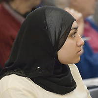 Young muslim woman wearing hijab, Eid in the Square, London, England<br />