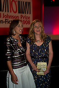 KATE SUMMERSCALE WINNER OF THE PRIZE; KIRSTY WARK<br />BBC Four Samuel Johnson Prize party. Souyh Bank Centre. London. 15 July 2008.  *** Local Caption *** -DO NOT ARCHIVE-© Copyright Photograph by Dafydd Jones. 248 Clapham Rd. London SW9 0PZ. Tel 0207 820 0771. www.dafjones.com.