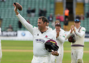 Marcus Trescothick of Somerset leaves the field for the last time with his cap held high as he retires from playing during the Specsavers County Champ Div 1 match between Somerset County Cricket Club and Essex County Cricket Club at the Cooper Associates County Ground, Taunton, United Kingdom on 26 September 2019.