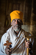 Portrait of a priest inside the Mariam Korkor Church. Tigray, Ethiopia, Horn of Africa