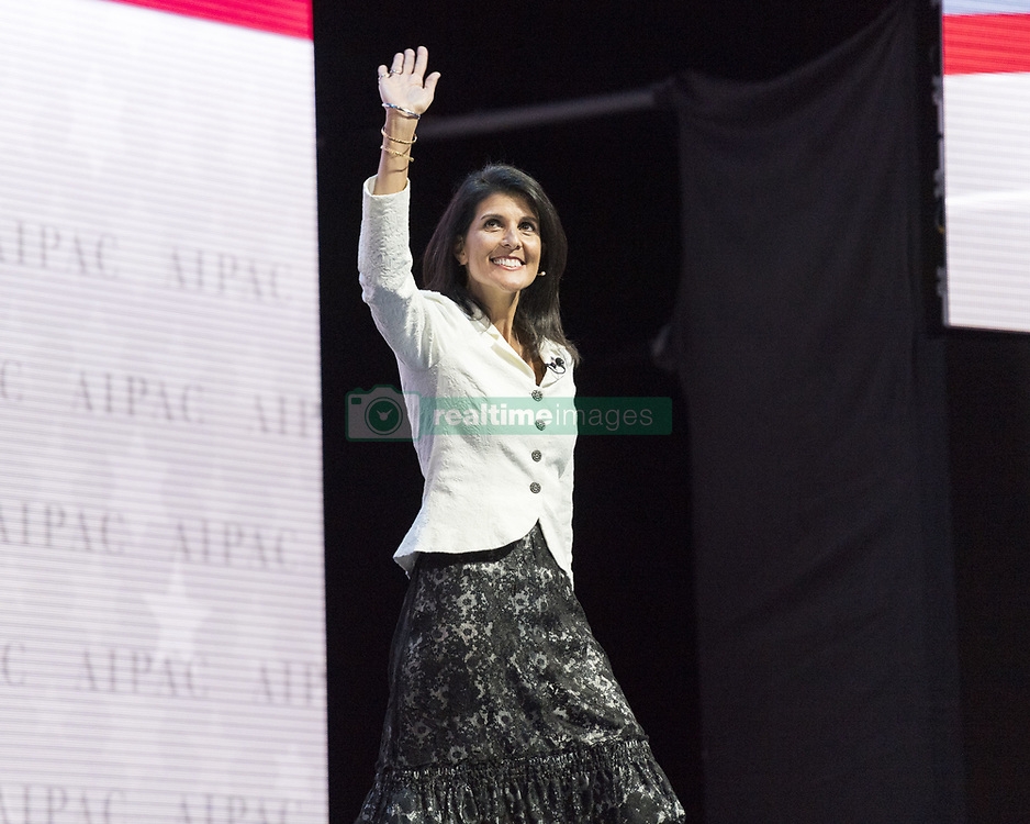 October 9, 2018 -  United Nations Ambassador Nikki Haley will resign from her role in the Trump administration, White House officials announced. PICTURED: March 27, 2017 - Washington, D.C, Washington, D.C, U.S - Ambassador to the United Nations NIKKI HALEY addresses the 2017 American Israel Public Affairs Committee (AIPAC) Policy Conference in Washington, D.C. (Credit Image: © Michael Brochstein/ZUMA Wire)