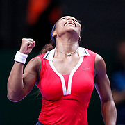Serena Williams of the US celebrates her victory after winning the final match against Maria Sharapova of Russia at the WTA Championships tennis tournament in Istanbul, Turkey, 28 October 2012. Photo by TURKPIX