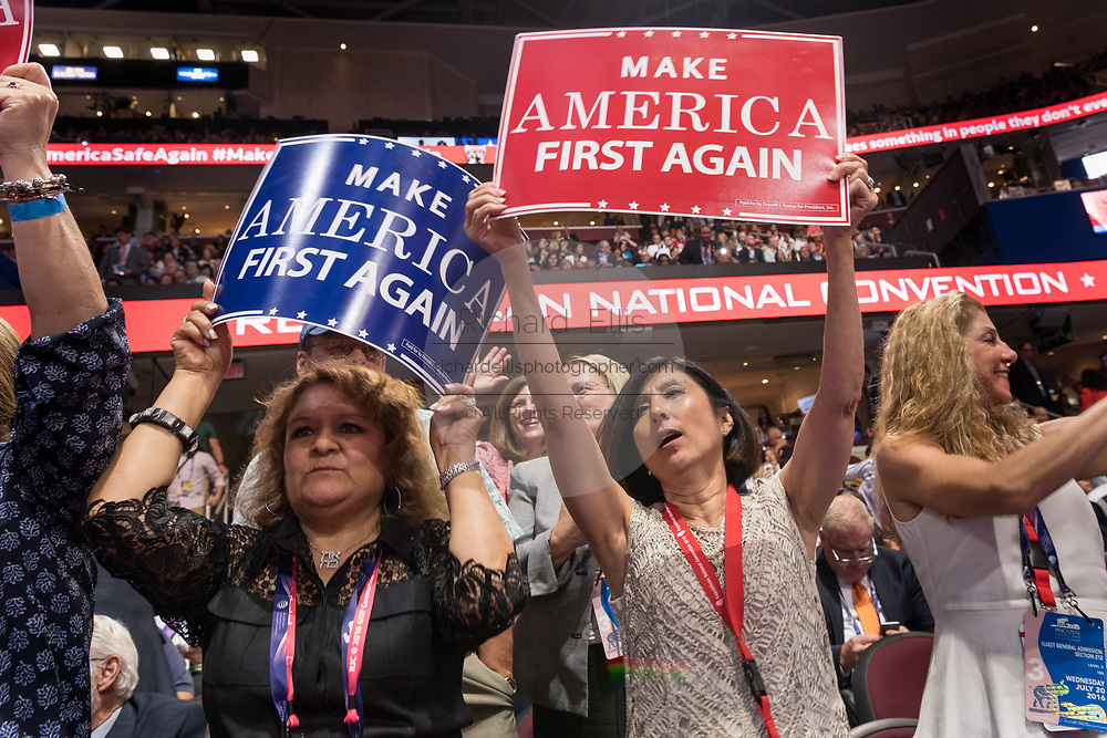 GOP delegates cheer during the Republican National Convention July 20, 2016 in Cleveland, Ohio.