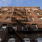 Fire escape of a brownstone Building.