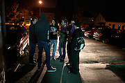 A group of friends from Tuzla, Bosnia and Herzegovina, a city about 140 km from Banja Luka, wait outside the DFK Club before the start of the Kultur Shock show...