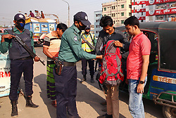 February 6, 2018 - Dhaka - February 06, 2018 Dhaka, BANGLADESH-  Bangladeshi armed police set up check post at the Postogola bridge in Old Dhaka as the upcoming verdict of Zia Orphanage Trust graft case. A special court in Dhaka is set to deliver the verdict in Zia Orphanage Trust graft case against Khaleda and five others on 8 February 2018. © Monirul Alam (Credit Image: © Monirul Alam via ZUMA Wire)