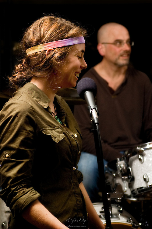 Alison Barnes joins Rich Flamini (drums) and the rest of The Brownies at a performance of The Bus Stop Music Cafe in Pitman, NJ.