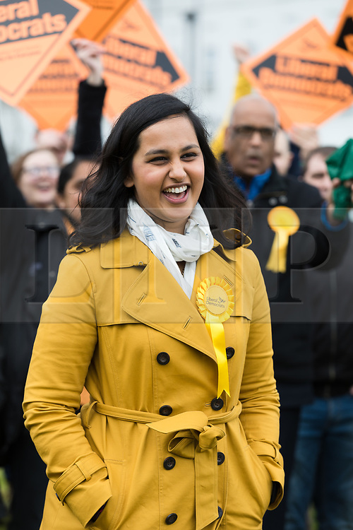 © Licensed to London News Pictures. 01/05/2017. LONDON, UK.  AMNA AHMAD, the Liberal Democrats Member of Parliament candidate for Sutton and Cheam at a general election campaign event outside St Helier Hospital in Sutton, Surrey.  Photo credit: Vickie Flores/LNP