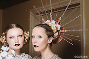 PROVIDENCE, RI - FEB 20: Liv Guiney and Samantha E Anderson backstage prior to the Jonathan Joseph Peters show during StyleWeek NorthEast on February 20, 2015 in Providence, Rhode Island. (Photo by Cat Laine)