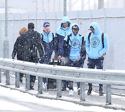 Sergio Aguero, Gabriel Jesus and Vincent Kompany and The Manchester City team are seen at Manchester Piccadilly Train Station on Thursday morning as they make their trip to London to face Arsenal in the premier league