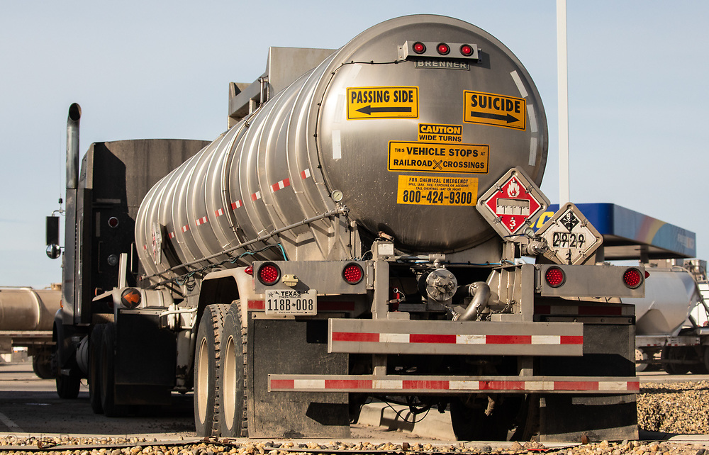 Fracking industry truck in  the Permain Basin in Texas.