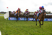 Horse Racing - Fairyhouse Easter Festival, Monday 28th March 2016<br /> Ger Fox on Rogue Angel clears ahead of the field during the first pass of the stand and eventually wins the 2016 Grand National<br /> Photo: David Mullen /www.cyberimages.net / 2016