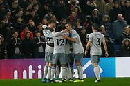 Oumar Niasse of Everton (hidden) celebrates with his team mates after he scores his team's second goal.Premier League match, Crystal Palace v Everton at Selhurst Park in London on Saturday 18th November 2017.<br /> pic by Steffan Bowen, Andrew Orchard sports photography.