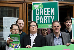 © Licensed to London News Pictures. 28/04/2017. LONDON, UK. JONATHAN BARTLEY, Green Party co-leader,  AIMEE CHALLENOR, Green Party LGBTIQA+ spokesperson with supporters at the Green Party LGBTIQA+ manifesto launch, at Trinity United Reform Church in London. Jonathan Bartley and Aimee Challenor today set out set out the Green Party LGBTIQA+ manifesto pledges, including commitment to provide the HIV prevention drug PrEP on the NHS.  Photo credit: Vickie Flores/LNP