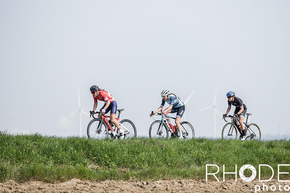 breakaway group with Elise Chabbey (SUI/Canyon Sram Racing), Anna Henderson (GBR/Jumbo-Visma) and  Lucinda Brand (NED/Trek Segafredo)<br /> <br /> 24th la Flèche Wallonne Féminin 2021 (1.UWT)<br /> 1 Day Race: Huy – Huy 130,5km<br /> <br /> ©RhodePhoto