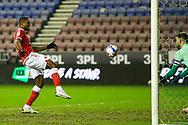 Charlton Athletic midfielder Chuks Aneke (10) through on goal during the EFL Sky Bet League 1 match between Wigan Athletic and Charlton Athletic at the DW Stadium, Wigan, England on 2 March 2021.
