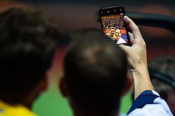 August 12, 2018 - Berlin, GERMANY - 180812 Armand Duplantis of Sweden and Renaud Lavillenie of France takes a selfie when celebrating after the men´s pole vault final during the European Athletics Championships on August 12, 2018 in Berlin..Photo: Vegard Wivestad Grøtt / BILDBYRÃ…N / kod VG / 170206 (Credit Image: © Vegard Wivestad GrØTt/Bildbyran via ZUMA Press)
