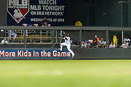Minnesota Twins center fielder Denard Span #2 makes a leaping catch against the outfield fence during a game against the Baltimore Orioles at Target Field in Minneapolis, Minnesota on July 16, 2012.  The Twins defeated the Orioles 19 to 7 setting a Target Field record for runs scored by the Twins.  © 2012 Ben Krause