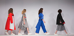 © Licensed to London News Pictures. 31/05/2015. London, UK. Collection by Shreeya Mavani. Fashion show of UCA Epsom at Graduate Fashion Week 2015. Graduate Fashion Week takes place from 30 May to 2 June 2015 at the Old Truman Brewery, Brick Lane. Photo credit : Bettina Strenske/LNP