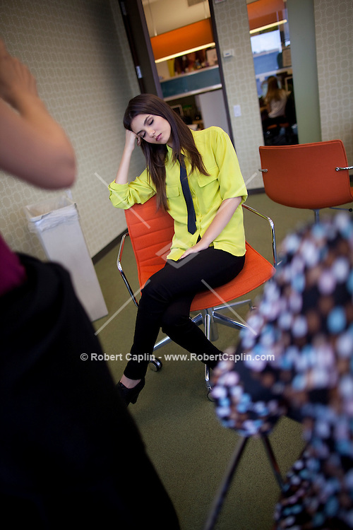 Actress and singer Victoria Justice in the Viacom Building in New York while visiting the Nickelodeon offices during Fall Fashion week 2011. ..Photo by Robert Caplin.