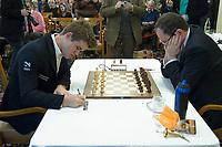 Zuerich, 30.01.2014, Zurich Chess Challenge 2014, Magnus Carlsen (L, Worl Champion and Grand Master Norway) versus Boris Gelfand (Grand Master Israel). (Gonzalo Garcia/EQ Images)