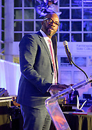 Garden City, NY, U.S., Nov. 14, 2019. HUNTLEY LAWRENCE, the Aviation Leadership Award honoree, speaks at podium during 7th Annual Cradle of Aviation Museum Air & Space Gala.