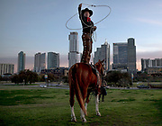 Trick roper Kevin Fitzpatrick performs a lasso trick during the 25th annual Cowboy Breakfast on Friday, March 6, 2020, in Austin, Texas. NICK WAGNER / AMERICAN-STATESMAN