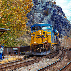 Harpers Ferry, WV, USA - November 3, 2018: A CSX freight train enters West Virginia from Maryland.