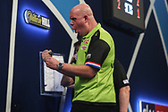 Michael van Gerwen wins the fourth set and celebrates during the World Darts Championships 2018 at Alexandra Palace, London, United Kingdom on 27 December 2018.