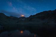 Musala peak at night sky
