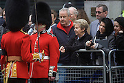 London 17/4/13 - A senior officer inspects a guardsman trooper before the funeral of Margaret Thatcher. Draped in the union flag and mounted on a gun carriage, the coffin of ex-British Prime Minister Baroness Margaret Thatcher's coffin travels along Fleet Street towards St Paul's Cathedral in London, England. Afforded a ceremonial funeral with military honours, not seen since the death of Winston Churchill in 1965, family and 2,000 VIP guests (incl Queen Elizabeth) await her cortege.