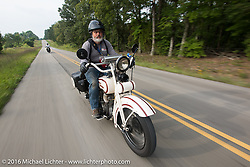Mark Wiebens riding his 1927 Harley-Davidson JD during Stage 6 of the Motorcycle Cannonball Cross-Country Endurance Run, which on this day ran from Cape Girardeau to Sedalia, MO., USA. Wednesday, September 10, 2014.  Photography ©2014 Michael Lichter.