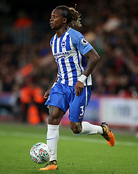 """Brighton and Hove Albion Gaetan Bong in action during the Carabao Cup, third round match at the Vitality Stadium, Bournemouth. PRESS ASSOCIATION Photo. Picture date: Tuesday September 19, 2017. See PA story SOCCER Bournemouth. Photo credit should read: Steven Paston/PA Wire. RESTRICTIONS: EDITORIAL USE ONLY No use with unauthorised audio, video, data, fixture lists, club/league logos or """"live"""" services. Online in-match use limited to 75 images, no video emulation. No use in betting, games or single club/league/player publications."""