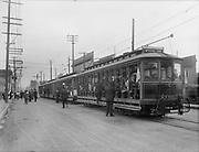 """0904-A11.  """"Policeman's Excursion 1913"""" Police excursion to Estacada, Portland trolley car 1307 July 27, 1913. See Oregonian July 28, 1913."""