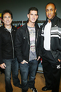 l to r: David Strumeier, Donnie Klang, and John Starks at the South Pole Fashion show during ' The Stay in School Concert ' facilated by Entertainers for Education held at The Manhattan Center on October 28, 2008 in New York City