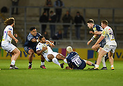 Sale Sharks stand-off James O'Connor and prop Halani Aulika combines to stop Exeter Chiefs Elvis Taione during the The Aviva Premiership match Sale Sharks -V- Exeter Chiefs  at The AJ Bell Stadium, Salford, Greater Manchester, England on Friday, October 27, 2017. (Steve Flynn/Image of Sport)
