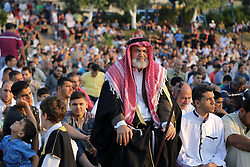 September 1, 2017 - Gaza City, Gaza Strip, Palestinian Territory - Palestinian muslims attend the prayer of Eid al-Adha or the feast of sacrifice in Gaza city. Muslims around the world are celebrating Eid al-Adha, the ''Feast of Sacrifice'', which marks the end of the annual pilgrimage or hajj to the Saudi holy city of Mecca and in remembrance of Abraham's readiness to sacrifice his son to God.  (Credit Image: © Mohammed Dahman/APA Images via ZUMA Wire)