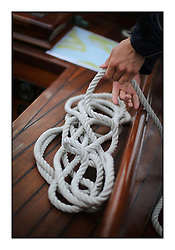 Day four of the Fife Regatta, race from Tighnabruaich to Portavadie<br /> <br /> Ropes on Latifa, 8, Mario Pirri, ITA, Bermudan Yawl, Wm Fife 3rd, 1936<br /> <br /> * The William Fife designed Yachts return to the birthplace of these historic yachts, the Scotland's pre-eminent yacht designer and builder for the 4th Fife Regatta on the Clyde 28th June–5th July 2013<br /> <br /> More information is available on the website: www.fiferegatta.com
