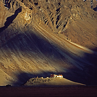 The Rangdum Gompa or monastery in the Suru Valley.  Zanskar Mountains, Ladakh, India.