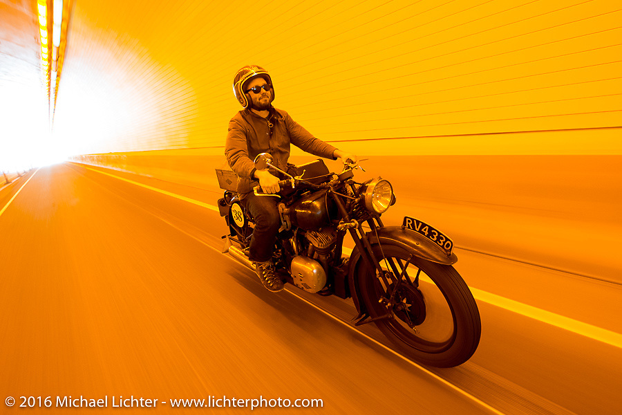 Alan Stulberg of Revival Cycles (Austin) riding Bryan Bossier's 1933 Brough Superior 11-50 rides through a tunnel on Interstate 70 in Glenwood Canyon during stage 10 (278 miles) of the Motorcycle Cannonball Cross-Country Endurance Run, which on this day ran from Golden to Grand Junction, CO., USA. Monday, September 15, 2014.  Photography ©2014 Michael Lichter.