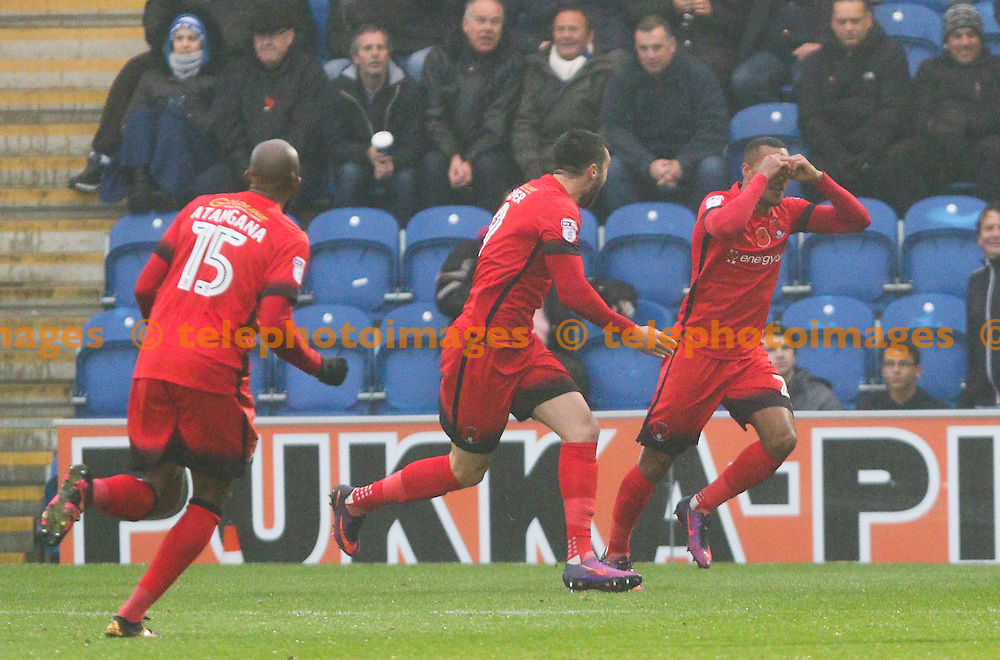 Jay Simpson of Leyton Orient (far right) celebrates scoring during the Sky Bet League 2 match between Colchester United and Leyton Orient at the Weston Homes Community Stadium in Colchester. November 12, 2016.<br /> Arron Gent / Telephoto Images<br /> +44 7967 642437