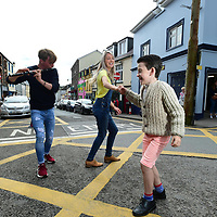 7-9-2018:Dancing at the crossroads are, Ciaran MacGearailt, Tom Cullen and Edwina Guckian, at the Dingle Tradfest in County Kerry, Ireland's biggest innovative Trad-Fusion Music Festival in Ireland on Friday. Dingle Tradfest continues in many venues around the town over the weekend. More info: www.dingletradfest.ie<br /> Photo: Don MacMonagle<br /> <br /> pr photo photo from Dingle Tradfest