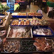 Raw Seafood Display In Phuket Cafe, Thailand