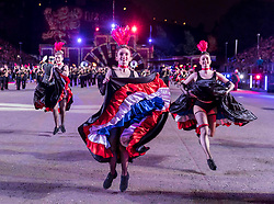 The 2019 Royal Edinburgh Military Tattoo launches its 2019 show Kaleidoscope. Staged on the Edinburgh Castle Esplanade between 2-24 August, the show marks its 69th year.<br /> <br /> Pictured: La Musique de l'Artillerie