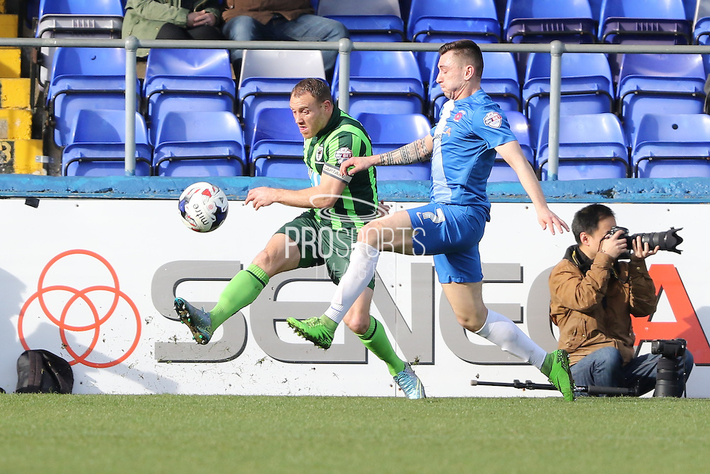 Barry Fuller (Captain) defender for AFC Wimbledon (2) during the Sky Bet League 2 match between Hartlepool United and AFC Wimbledon at Victoria Park, Hartlepool, England on 25 March 2016. Photo by Stuart Butcher.