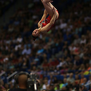 Kyla Ross, Aliso Viejo, California, in action during the Floor Routine during the Senior Women Competition at The 2013 P&G Gymnastics Championships, USA Gymnastics' National Championships at the XL, Centre, Hartford, Connecticut, USA. 17th August 2013. Photo Tim Clayton