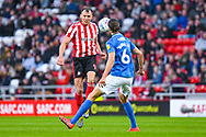 Charlie Wyke of Sunderland (9) in action during the EFL Sky Bet League 1 first leg Play Off match between Sunderland and Portsmouth at the Stadium Of Light, Sunderland, England on 11 May 2019.