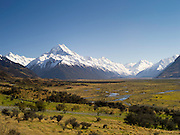 View of the Tasman River valley flowing from the Southern Alps, with Aoraki/Mt. Cook in the background, New Zealand